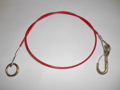 Breakaway cable, hook + eye cartrailer