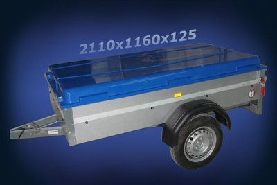 Lid for trailer polyester 2110x1160x125mm.