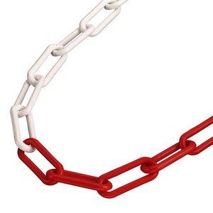 Plastic chain red/white 6 mm.