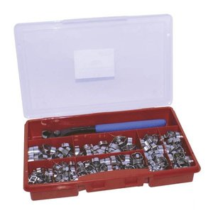 Hose Clamp Assortment, ear clip model, 280-Piece, Stainless steel.