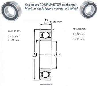 TOURMASTER Bearing set, 62052RS + 63042RS